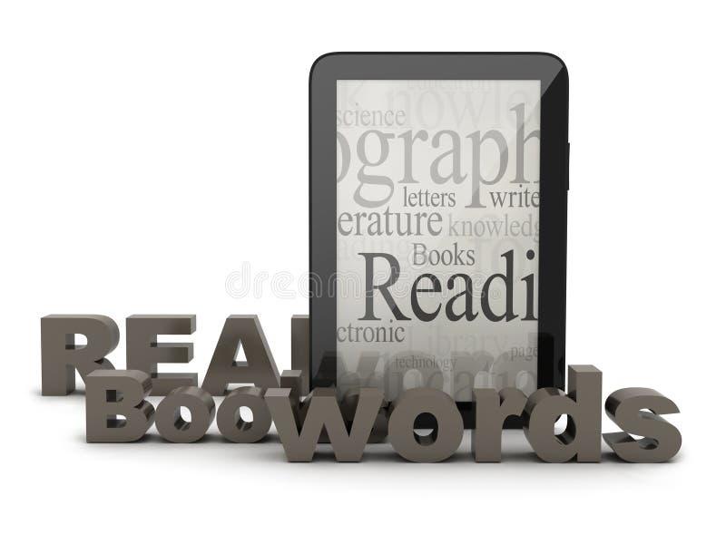Tabletcomputer en woorden stock illustratie