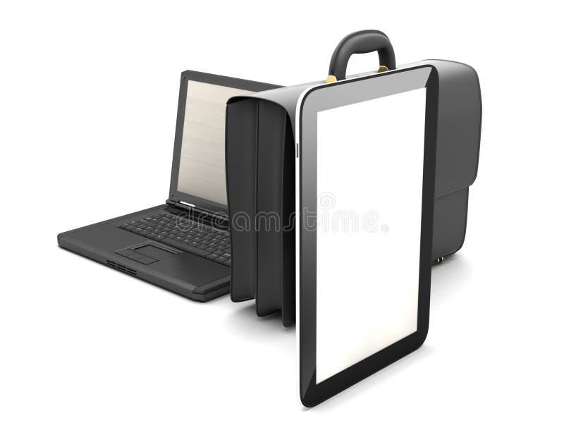 Tabletcomputer, laptop en zwarte aktentas vector illustratie