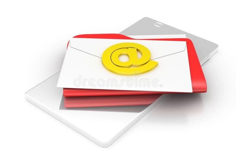 Tabletcomputer met e-mail stock illustratie