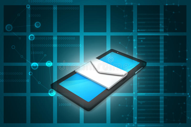 Tabletcomputer met e - post stock illustratie