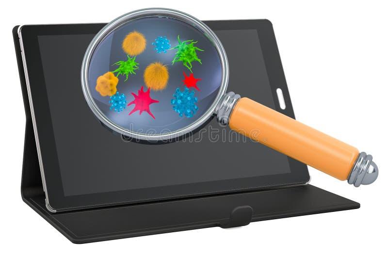 Tabletcomputer met virussen en bacterias onder vergrootglas, het 3D teruggeven royalty-vrije illustratie