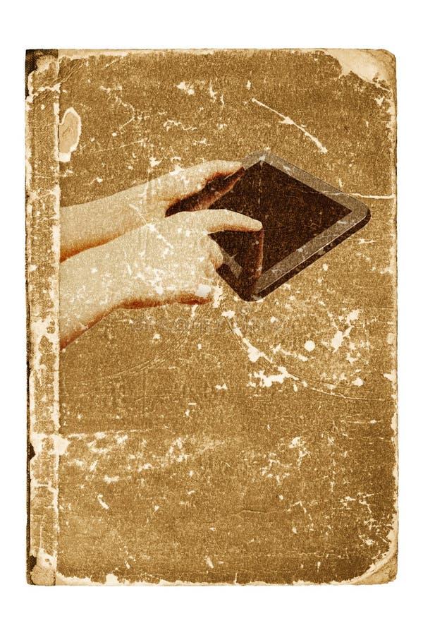 Tabletcomputer, oud boek stock illustratie