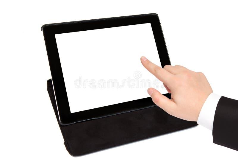 Tableten med isolerat avskärmer i svart bärande fall och affär arkivbild
