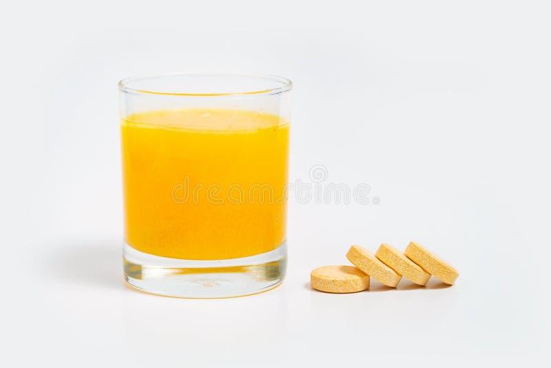 Tabletka musująca witaminy c i suplementu cynku fotografia stock