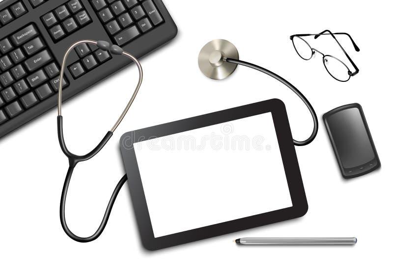 Tabletnotenauflage und -Büroartikel auf dem Tisch vektor abbildung