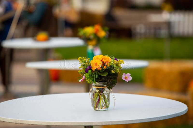 Tabletop Fall Flower Display royalty free stock photos