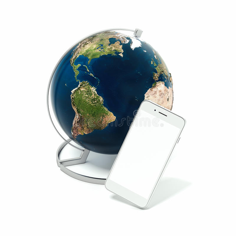 Download Tabletop Globe With Smartphone. Elements Of This Image Furnished  By NASA. 3d Rendering