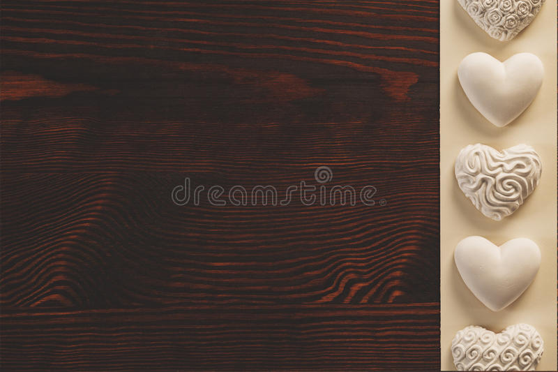 Tabletop with heart decoration royalty free stock photography