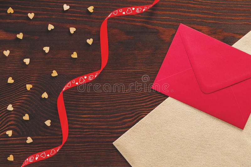 Tabletop with Valentine card stock image