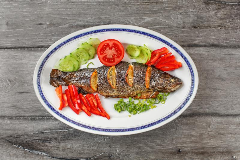Tabletop view, grilled trout on oval plate, orange slices, tomatoes, pepper, cucumber and green onion around stock photography