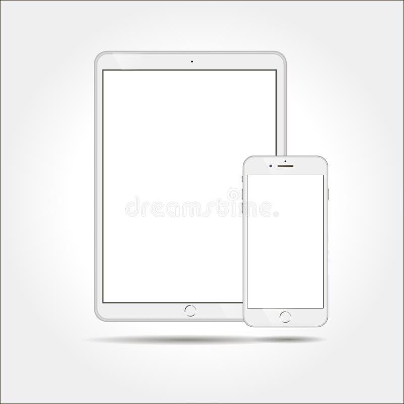 Tabletpc en Mobiele Telefoon Vectorillustratie stock illustratie