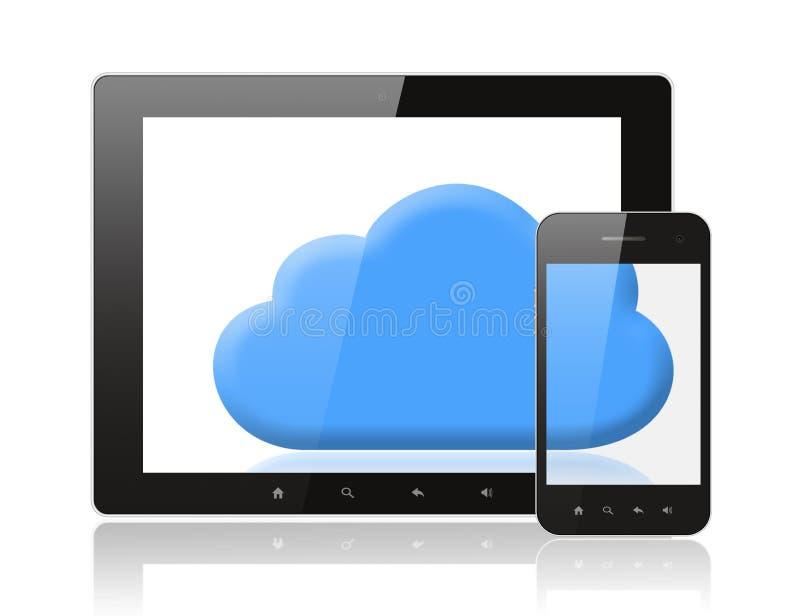 Tabletpc en slimme telefoon met blauwe wolk royalty-vrije illustratie