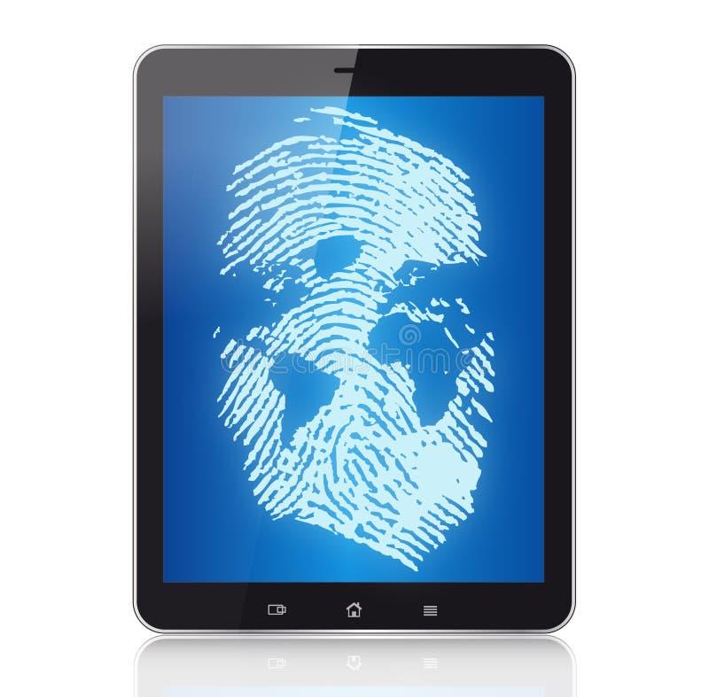 TabletPC och digitalt begrepp royaltyfri illustrationer