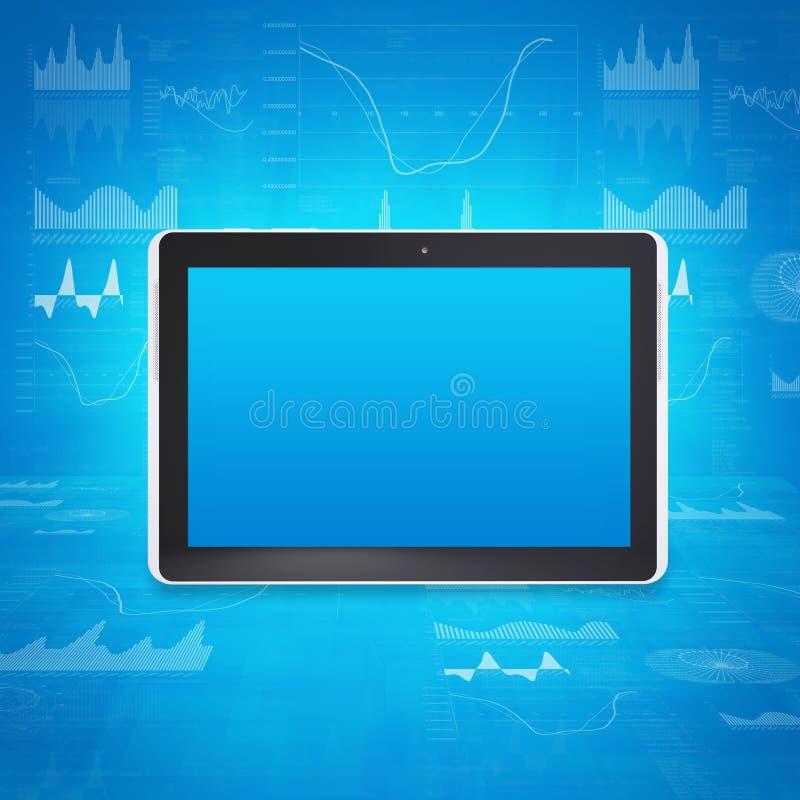 Tabletpc op de achtergrond van grafieken en cijfers royalty-vrije illustratie