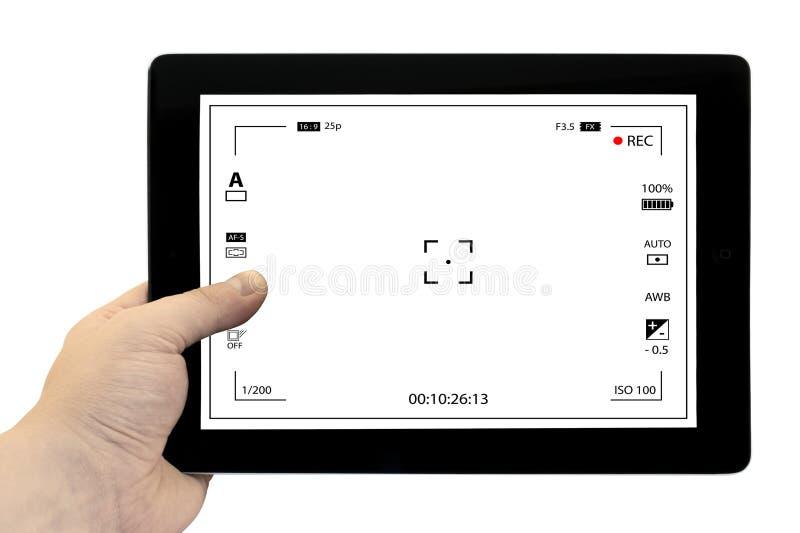 Tabletphotographiekonzept Machen von Fotos auf einer Tablette Leerer Tablet-PC in der Hand lokalisiert stockfotografie
