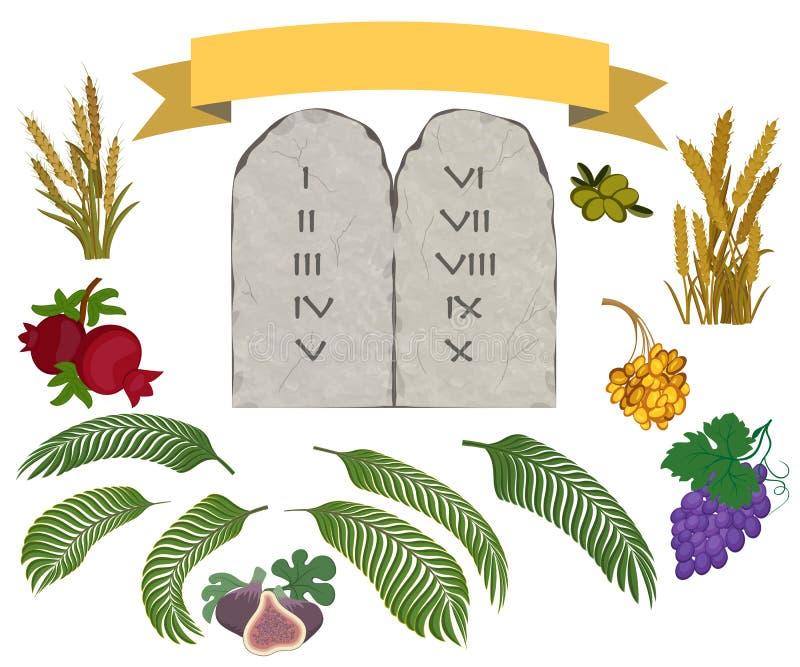 Tablets des Steins und sieben Spezies eingestellt vektor abbildung