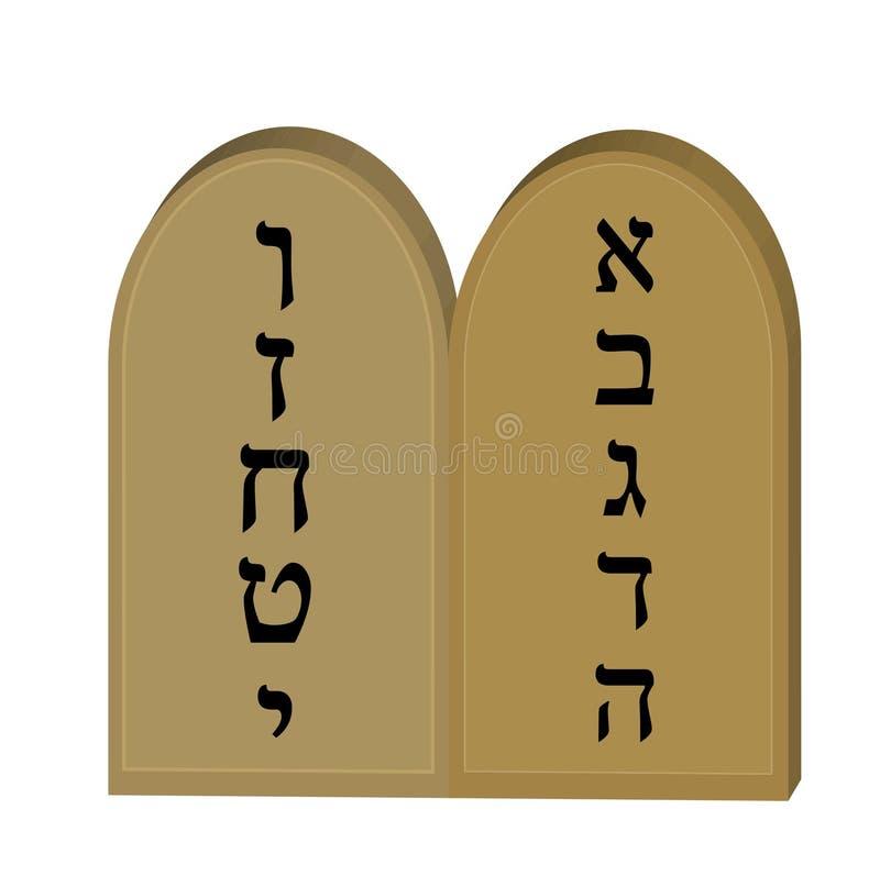 Tablets jüdisch von der Ikone mit 10 Geboten, flach, Karikaturart Jüdischer religiöser Feiertag Shavuot, Konzept ein getrennt wor stock abbildung