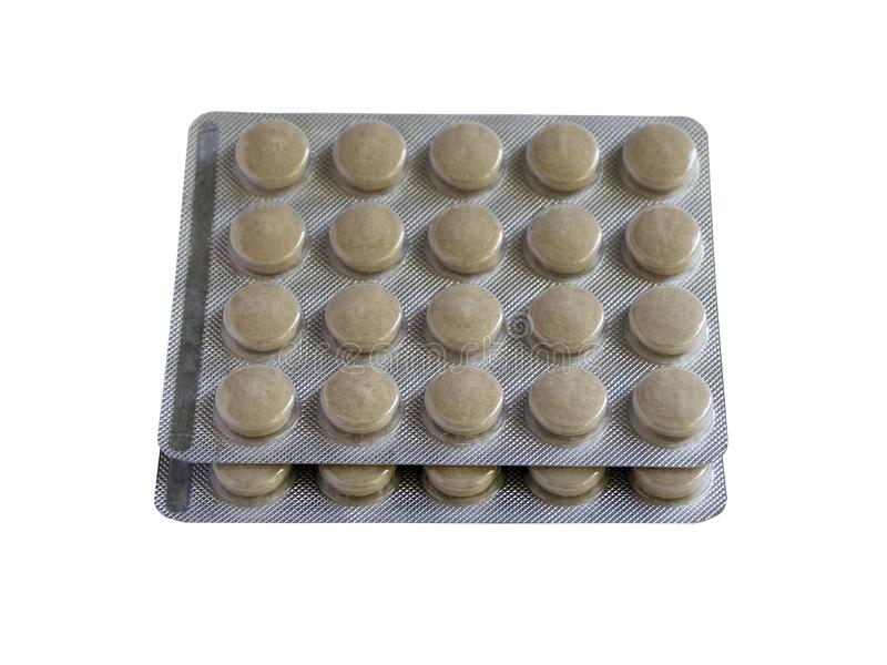 Tablets in packs are on the table. Antibiotics from the virus. Treatment of the disease royalty free stock image