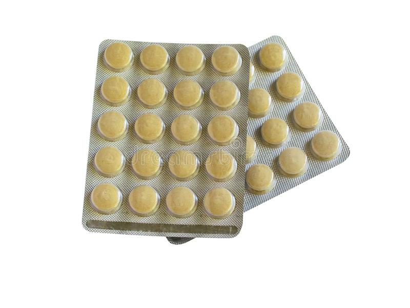 Tablets in packs are on the table. Antibiotics from the virus. Treatment of the disease stock photos