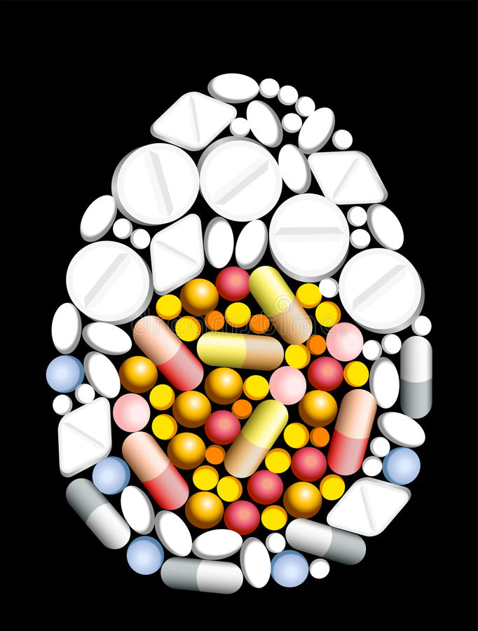 Tablets Pills Egg stock illustration