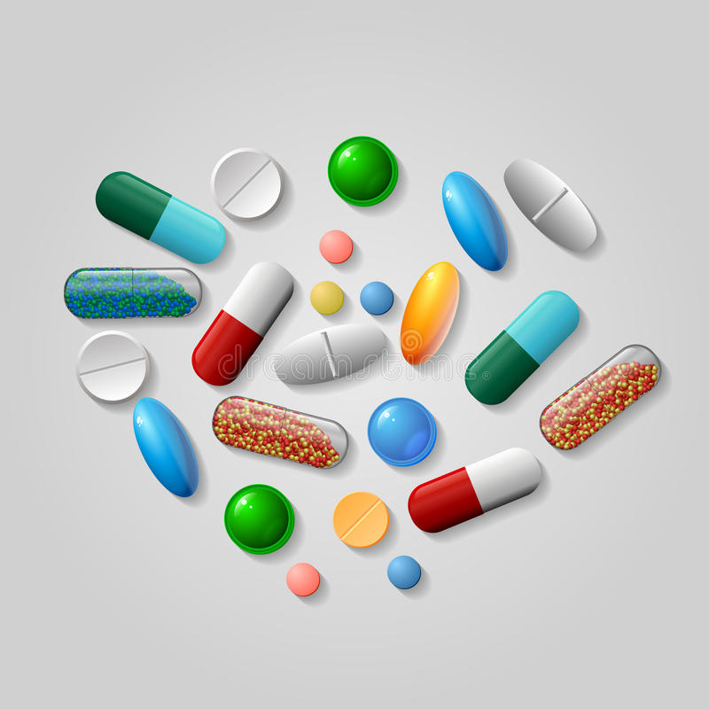 Tablets and pills vector. stock photos