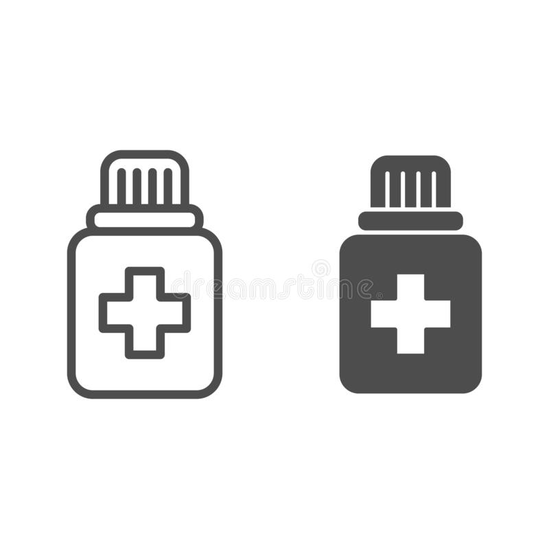 Tablets in plastic jar line and glyph icon. Bottle with drug vector illustration isolated on white. Medicament outline royalty free illustration