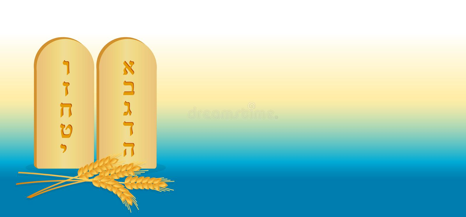 Tablets of Stone and wheat, banner stock illustration
