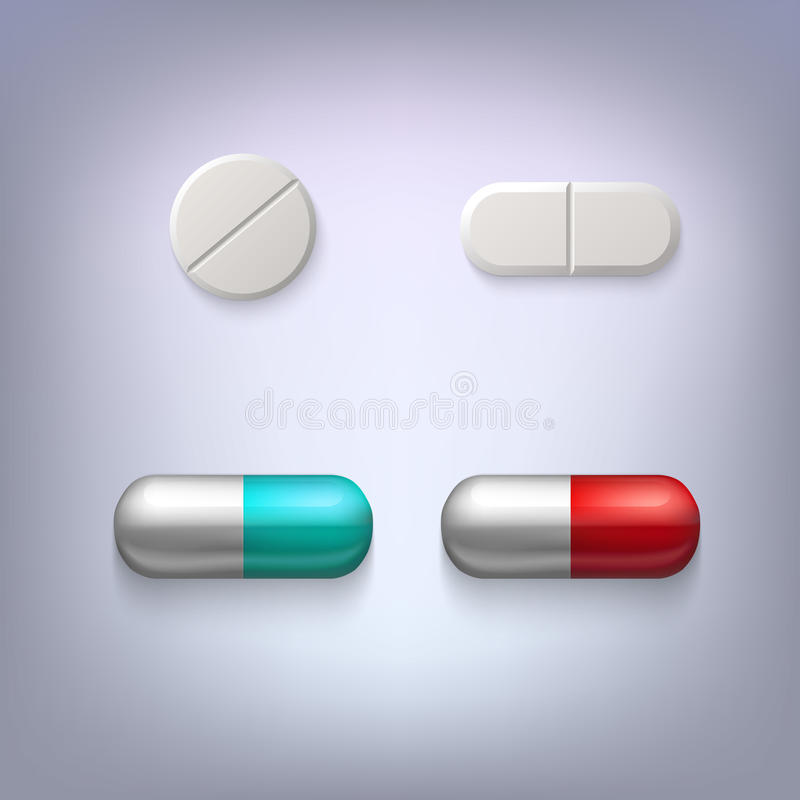 Tablets und Pillenvektorillustration stock abbildung