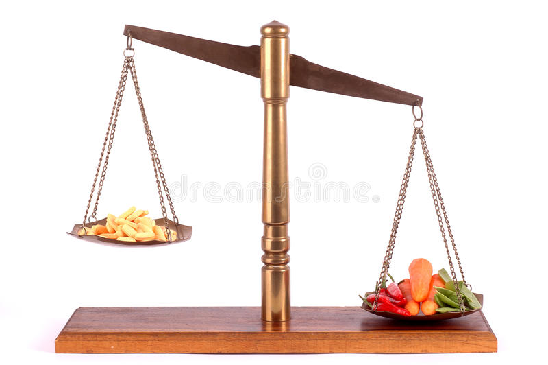 Tablets and vegetables on a scale royalty free stock image