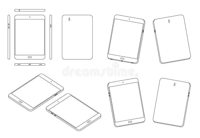 Tabletspitze, Front, Rückseite, Seite, Unterseite und Ansichtentwurf der Perspektive 3d stellten Schwarzweiss-Farbe lokalisiert a stock abbildung