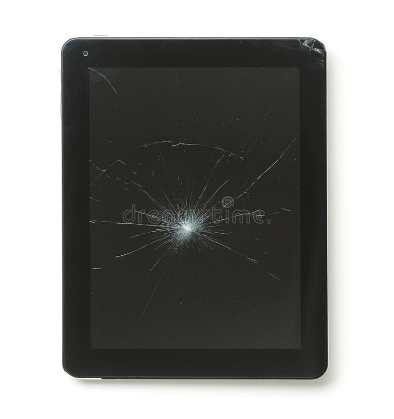 Tablette avec l'écran cassé photographie stock libre de droits