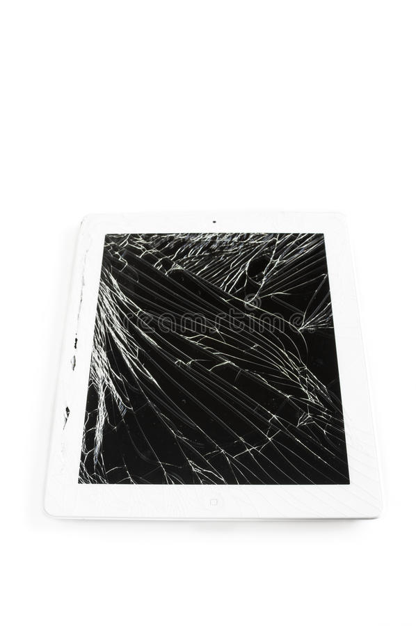 Tablette avec l'écran en verre cassé photos stock
