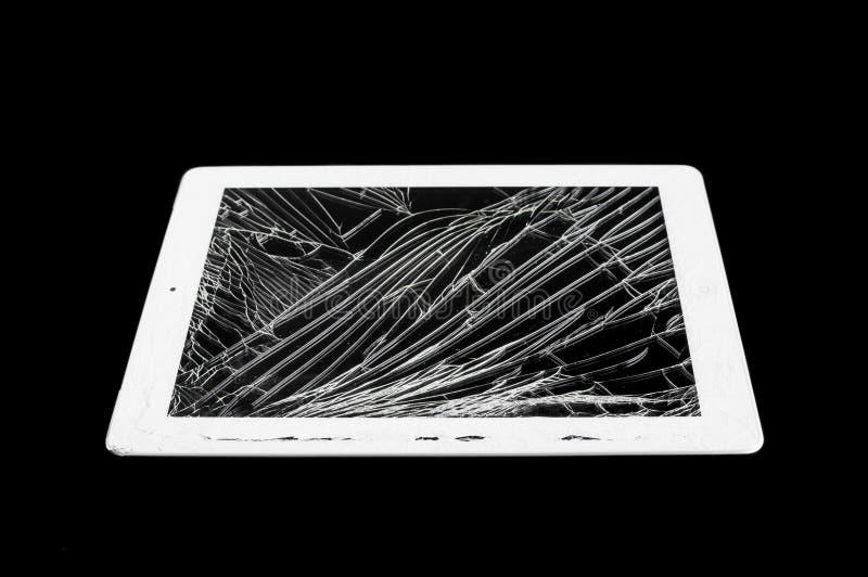 Tablette avec l'écran en verre cassé photos libres de droits