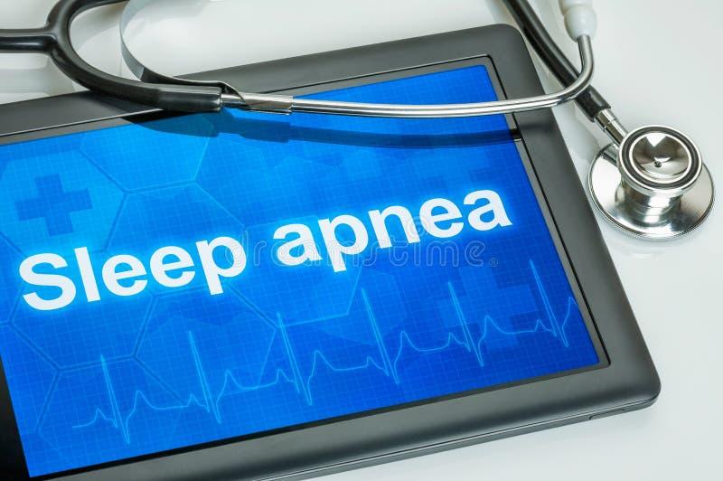 Tablette avec l'apnée du sommeil de diagnostic illustration stock