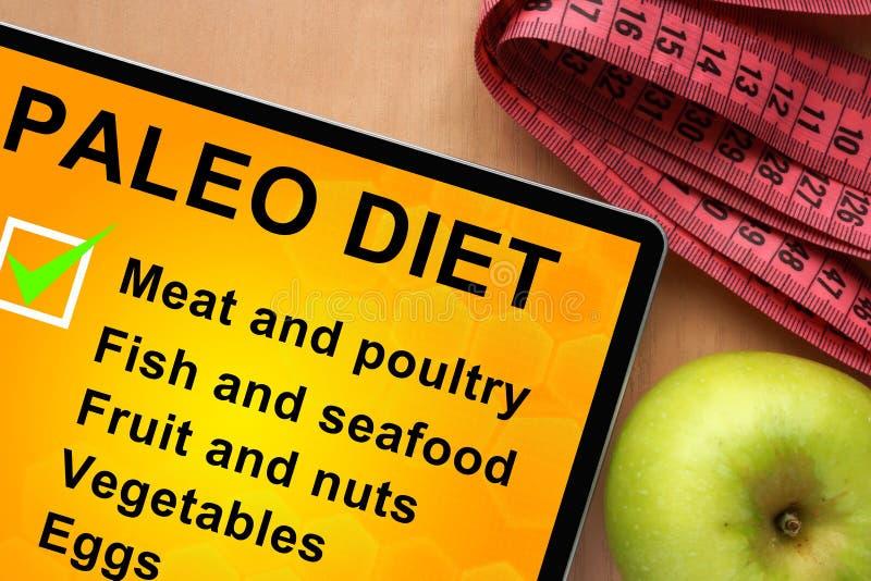 Tablette avec la liste de nourriture de régime de paleo image stock