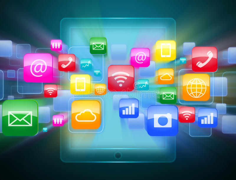 Tablette avec le nuage des icônes colorées d'application illustration stock