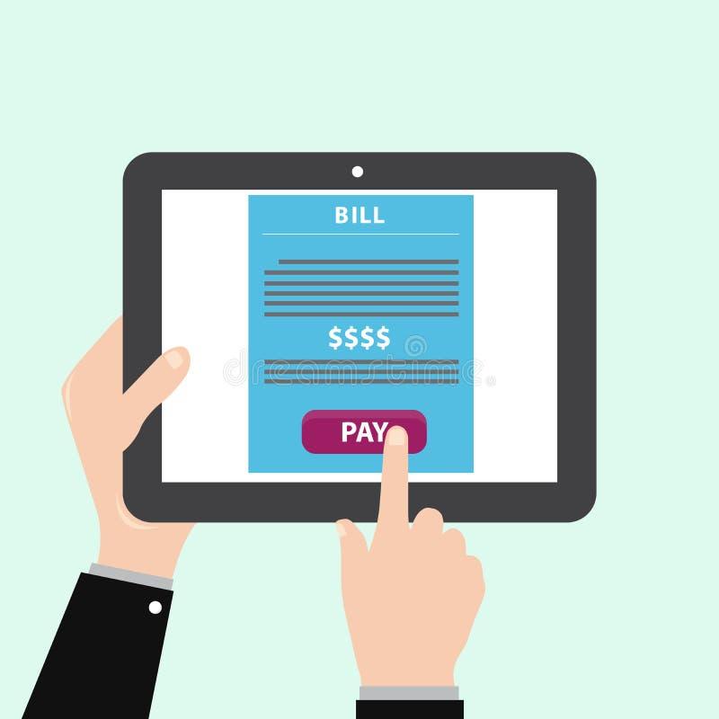 Tablette avec le paiement en ligne illustration de vecteur