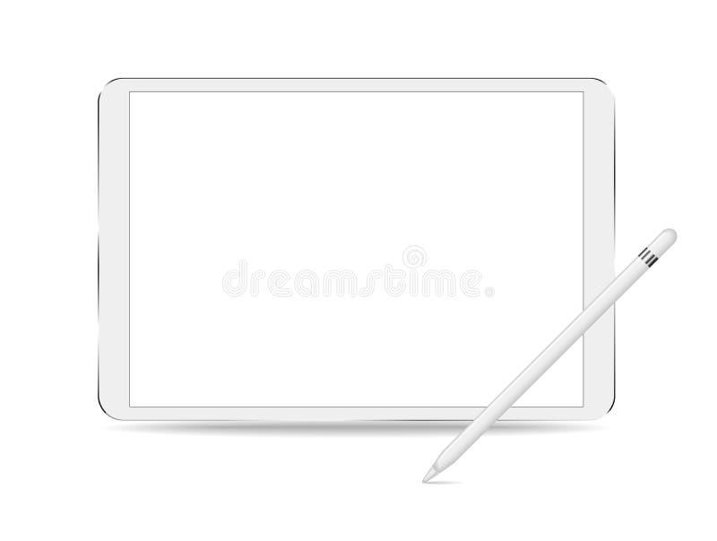 Tablette avec les écrans vides d'isolement sur le fond blanc avec la maquette futée de crayon pour présenter votre travail dans l illustration libre de droits