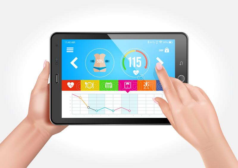 Tablette avec un appli de forme physique illustration libre de droits