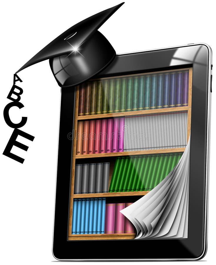 Tablette-Bücherschrank-Staffelung-Hut stock abbildung