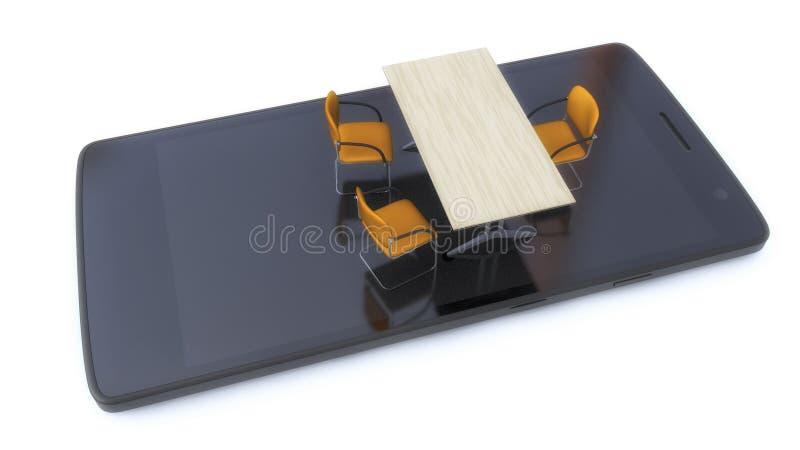 Tablette, chaises et table prêtes pour négocier illustration libre de droits