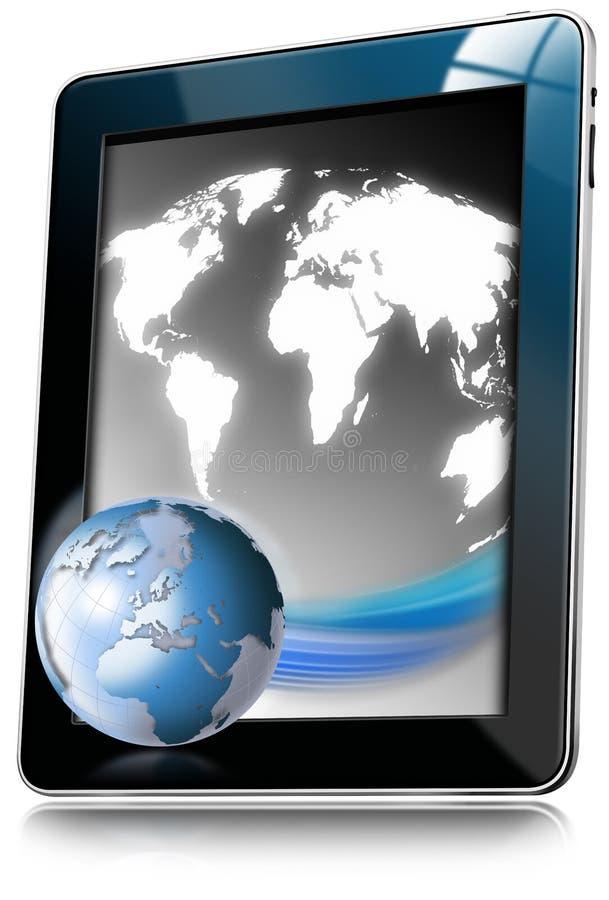 Tablette-Computer mit Weltkarte stock abbildung