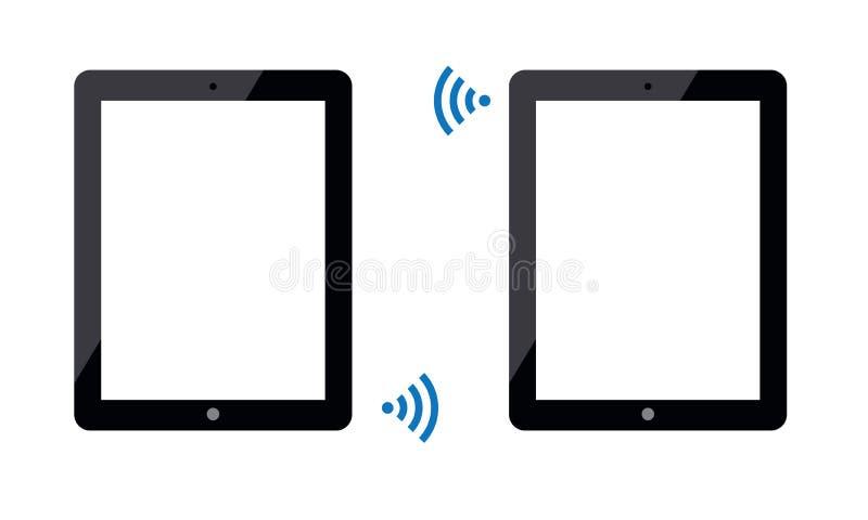 Tablette d'Android Ipad reliée par la radio de Wi-Fi illustration libre de droits