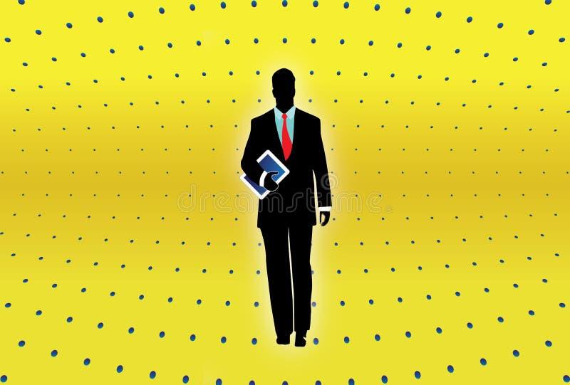 Tablette d'ordinateur de fixation d'homme d'affaires illustration stock