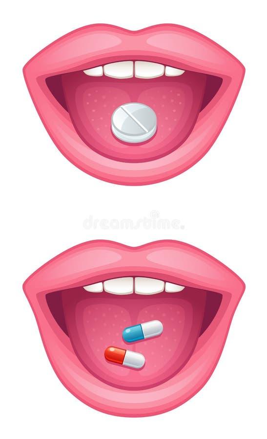 Tablette dans la bouche illustration de vecteur