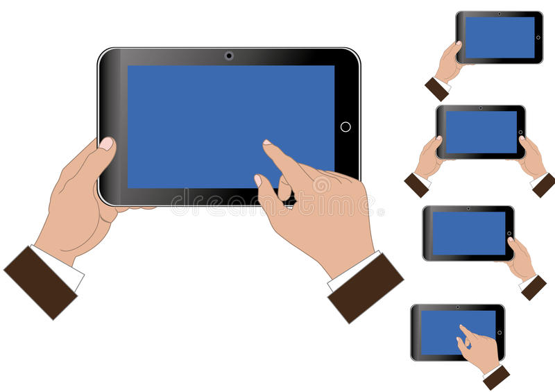 Tablette dans les mains illustration de vecteur