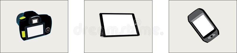 Tablette de caméra et écran blanc de téléphone illustration stock