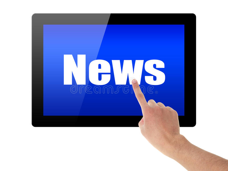 Tablette de contact de main avec des actualités photographie stock libre de droits