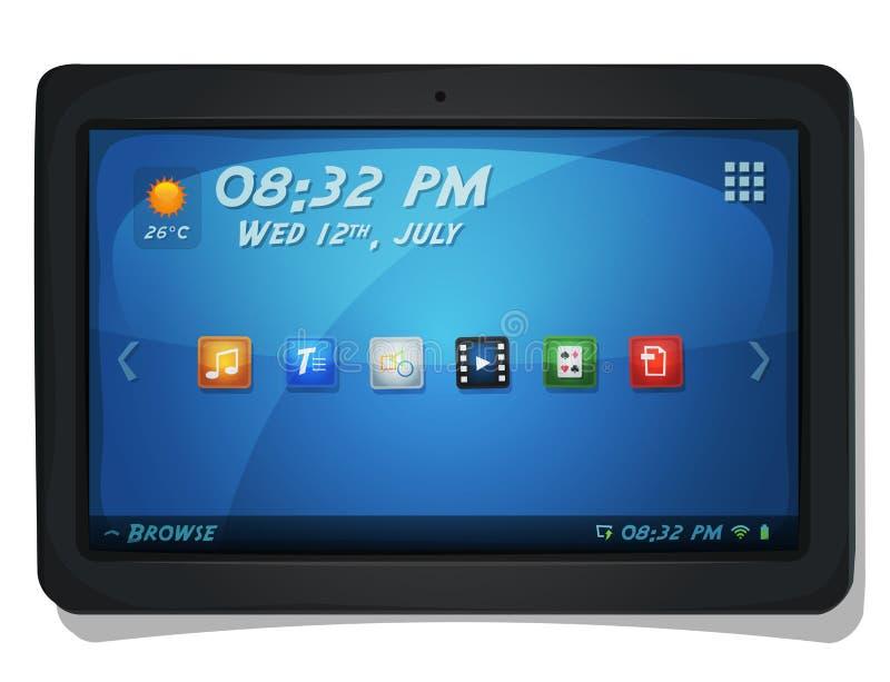 Tablette de Digital avec des icônes d'OS illustration de vecteur