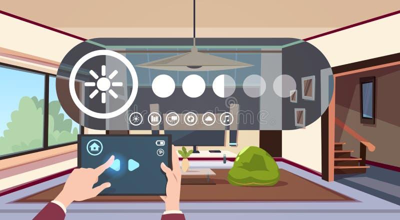 Tablette de Digital d'utilisation de main avec l'automation futée de la maison APP au-dessus de la technologie moderne intérieure illustration stock